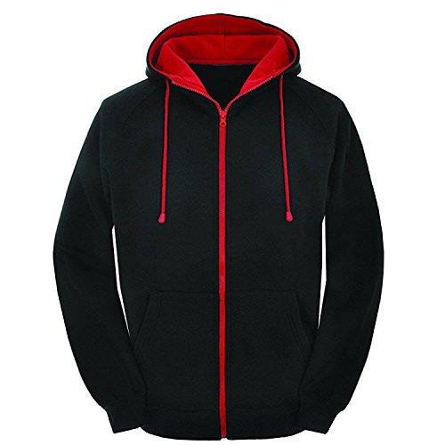 MyMixTrendz Mens Contrast Black and red Zip Varsity Retro Zip up Hoodie, Unisex Hooded Sweatshirt Zipper Jacket Retro Hooded Fleece