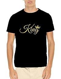YaYa Cafe Mens Cotton King Printed Slogan T-shirt Black X-Large