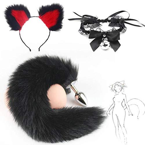 Jjek Cos-Lace Glockenkragen, Black Fox Metal Tail Plüsch und Multicolor Cat Ears Glamour Weibliche Maskerade Requisiten 3er Set Massage Cosplay Kostüm Requisiten (Color : Black+Red, Size : M) (Red Fox Tail Kostüm)