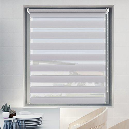 Store Jour Nuit 70x120cm Gris, Store Enrouleur avec ou sans Perçage pour Fenêtre, Montage Facile avec Clips Klemmfix