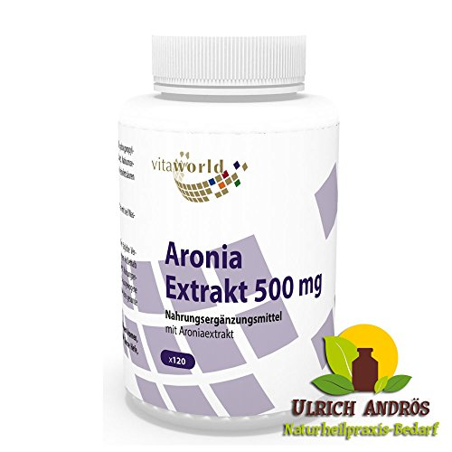 Vita World Aronia extrait 500mg 120 capsules avec 2% de proanthocyanidines (PAC) Made in Germany