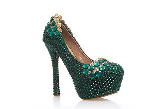 GZDWomenCourt-ShoesRhinestonesGreenFlowersWedding-DressBrideBridesmaidsWeddingparty-Shoes-Glitter-High-Heel-Office-Lady-Pumps-Ladies-Party-Shoes