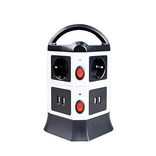 Steckdosenleiste, 6 Fach Mehrfachsteckdosen 4 USB Steckerleiste mit einzeln Schalter und 2m Kabel, Überspannungsschutz, Schwarz, 2500W