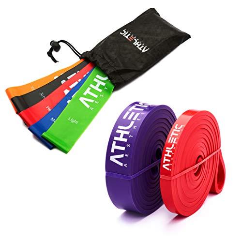 ATHLETIC AESTHETICS Premium Fitness Band Set [Fitnessbänder Sets + Tasche und Übungsanleitung] - Widerstandsbänder, Gymnastikbänder, Resistance Bands, Trainingsbänder, Loop Bänder, Mini Bands
