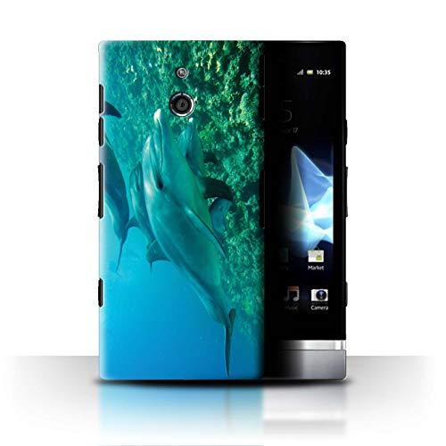 Stuff4® Hülle/Case für Sony Xperia P/LT22i / Tiefsee Schwimmen Muster/Delfine Meereslebens Kollektion