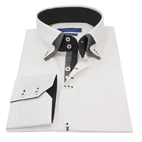 Meadrine Man Slim Fit weiß Auskleidungen, Schwarze Erbsen und schwarzen Streifen Hemd - 3XL, Weiß