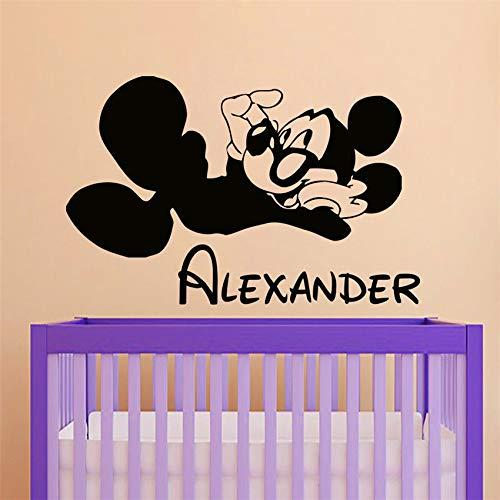 zhuziji Dekoration Abziehbilder Name Maus Wandaufkleber Abnehmbare Vinyl Baby Room Dec rot 70X108 cm