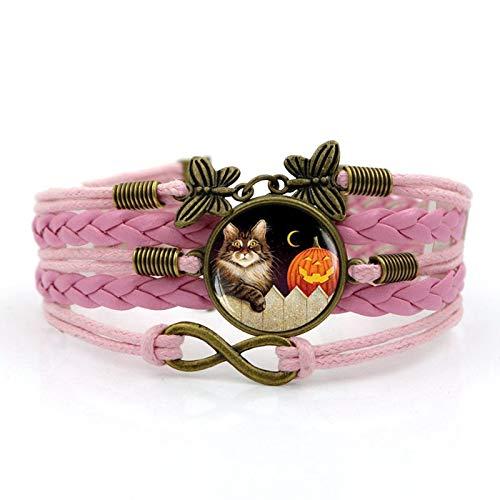 Blisfille Halloween Kürbis Katze Zeit Edelstein Armband Vintage -
