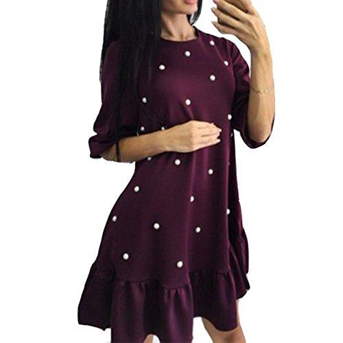 Damen Mini Kleid - Fashoin Einfarbig Lange Bluse mit Perlen Dekoration Halbarm O Ausschnitt Tunika Casual Lose Kleider Oberteile Dunkelrot S-2XL