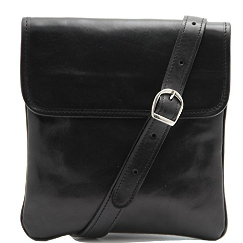Tuscany Leather Joe Borsello in pelle a tracolla Nero Nero