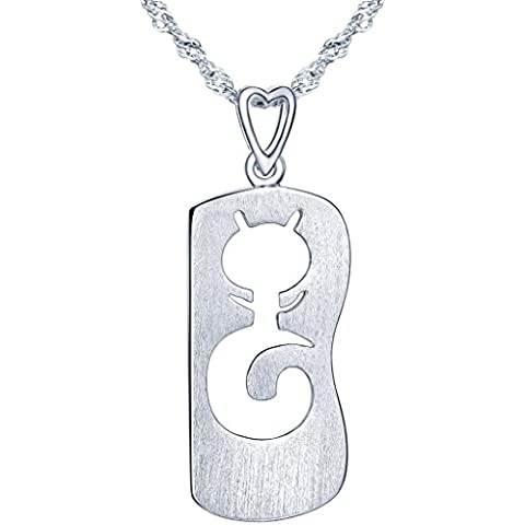 Yumi Lok in argento Sterling 925Hohle gatto militare scheda ciondolo collana catena con ciondolo per donna
