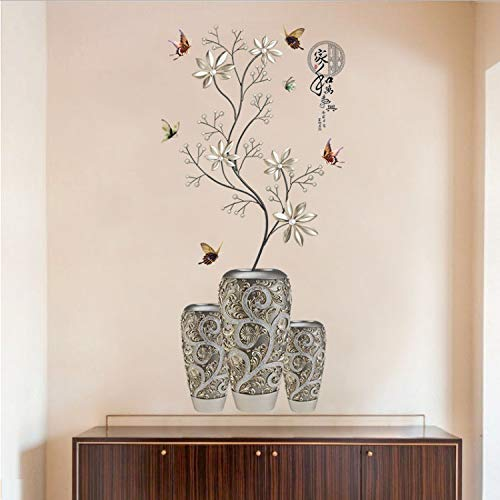 Modern Chinese Style Wall Sticker Silver White Flower Vase Butterfly Decor Applique Bedroom Dining Room Entrance Decoration DIY (Silver Flower Vase)