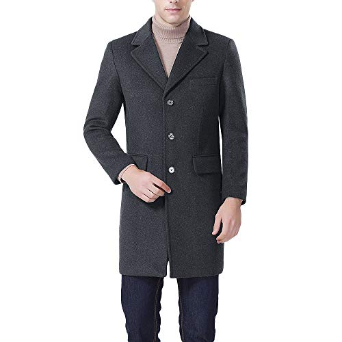 TWBB Herren Winter Geschäft Windjacke Lange Revers Verdicken Tailcoat Jacket Outwear Mantel Coat Einfarbig Lange Ärmel Hemd