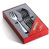 Domestic 808135 Buffalo - Tenedores de postre, (6 piezas, acero inoxidable 18/0, 2 mm)