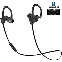 Cuffie Bluetooth, Magicmoon V4.1 In-Ear Sport Wireless gancio dell'orecchio cuffie sweatproof Cuffie con microfono, Premium Sound con il basso, con cancellazione del rumore -7 Ore Playtime (Nero)