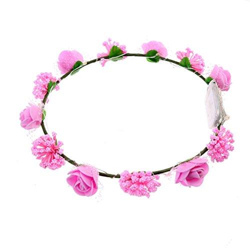 Frcolor Blumen Stirnband LED Haarkranz Damen Haarschmuck für Festival Hochzeit Urlaub Party Dekor (Rosa) Urlaub Led