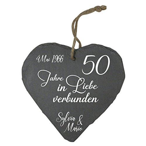MCK-Handel Schieferherz Bedruckt anstellte Gravur - Größe 20cmx20cmx0,3cm - Thema Hochzeit und 50 Jähriges Jubiläum Goldene Hochzeit