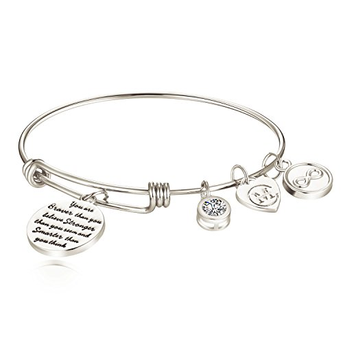 "Mädchen Damen Armband mit Gravur ""You are braver than you believe Stronger than you seem and Smarter than you think"" Inspiration Frauen Charm Armreif Schmuck Geschenk"