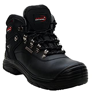 A&H Footwear Mens Arma Black Lace Up Genuine Leather Waterproof Safety Steel Toe Cap Boots UK Sizes 7-12 (UK 10, Black)