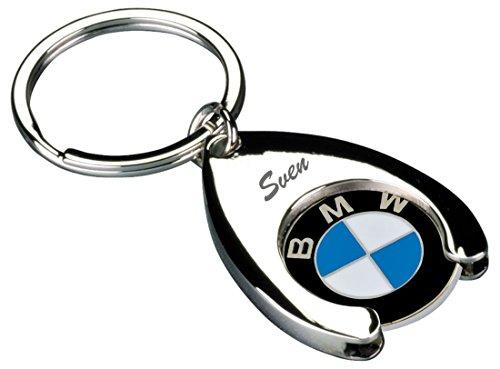 Preisvergleich Produktbild BMW Schlüsselanhänger inkl. Gravur mit Einkaufs Chip für Einkaufswagen