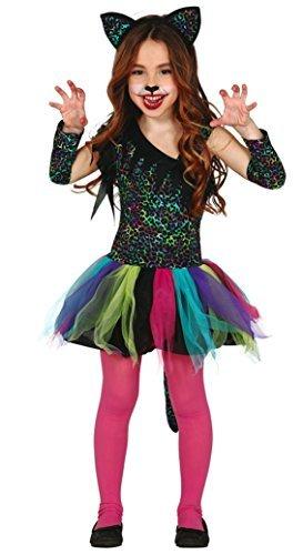 Mädchen Rainbow Leopard bunt Tutu groß Katze Karneval Wild Tier für Katzen Halloween Kostüm Kleid Outfit 3-12 Jahre - Mehrfarbig, 3-4 (Leopard Tutu Kind Kostüme)