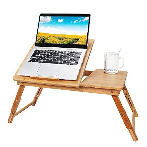 Todeco - Table Portable pour Ordinateur, Plateau de Lit Pliable - Matériau: Bambou - Taille du...
