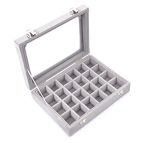 Ivos 24 Fächer Damen-Schmuckkasten Schmuckkoffer Schmuckständer Aufbewahrungsbox für Schmuck