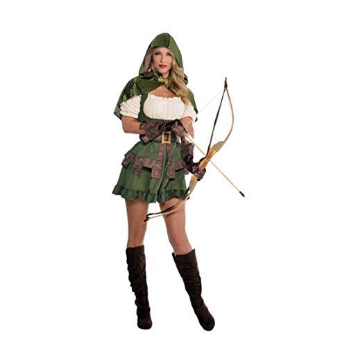 Sexy Robin Hood Kostüm Damen Waldläuferin Verkleidung S Jägerin Outfit Räuberin Damenkostüm Märchenkostüm Kleid Faschingskostüm Elbin (Die Jägerin Kostüm)