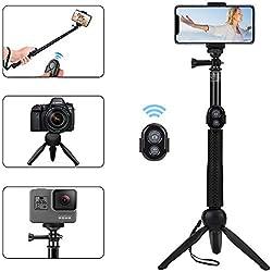 Alfort Palo Selfie, Selfie Stick Bluetooth Trípode Portátil con Control Remoto per iPhone X / 8/7 / Galaxy A8 / S9 / S8 / Huawei P20 / P10 y Otros Teléfonos con Android/iOS (6.0'')