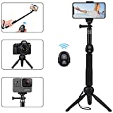 Alfort Palo Selfie, Selfie Stick Bluetooth Trípode Portátil con Control Remoto per iPhone X / 8/7 / Samsung A8 / S9 / S8 / Huawei P20 / P10 / Gopro y Otros Teléfonos con Android/iOS (6.0'')