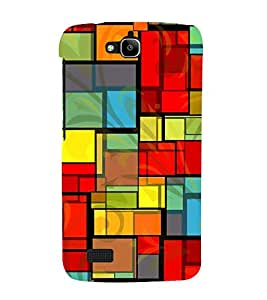Colourful Rectangular Pattern 3D Hard Polycarbonate Designer Back Case Cover for Huawei Honor Holly