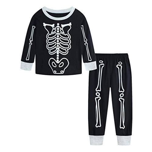 Reciy Jungen Halloween Schlafanzug Mädchen Baumwolle Langarm Pyjama 2 Stück Pajama Sets NachtwäscheSchädel Kürbis PJS 120 (Halloween Pjs Für Mädchen)