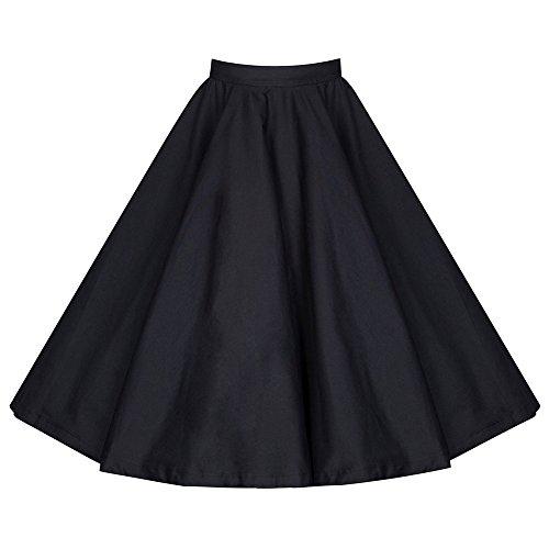 Femmes Rétro Jupe Basique Plissée Patineuse Fille Elastique Court Midi Jupe Noir