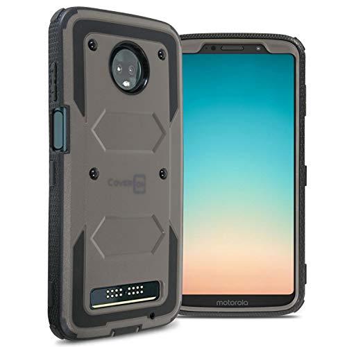 CoverON Moto Z3 / Moto Z3 Play Hülle, Schutzhülle für Das gesamte Gerät, mit Robuster Frontplatte für Motorola Moto Z3 / Moto Z3 Play, grau Motorola Cell Phone Faceplates