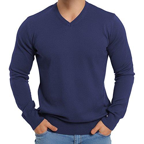 Original CELODORO Herren V-Neck Pullover - Longsleeve Reine Baumwolle - Größen S-3XL Blue Indigo
