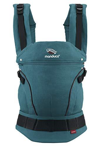 manduca First Baby Carrier > Hemp Cotton Petrol/Brown < Babytrage aus weichem Canvas (Hanf & Bio-Baumwolle) mit Rückenverlängerung & ergonomischen Hüftgurt, für Kleinkinder bis 20kg (grün/braun)
