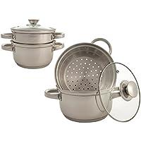 3pièces cuisson à la vapeur de poêles, batterie de cuisine, réversible pour casserole en acier inoxydable Argenté Convient pour induction, céramique, électrique et feux de gaz.