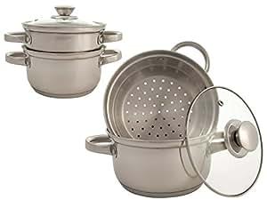3 pi ces cuisson la vapeur de po les batterie de cuisine r versible pour casserole en acier. Black Bedroom Furniture Sets. Home Design Ideas