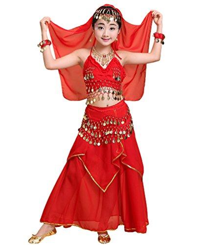 Anguang Mädchen Bauchtanz Rock Set Kinder Halloween Tanz Kostüm Rot#2 M