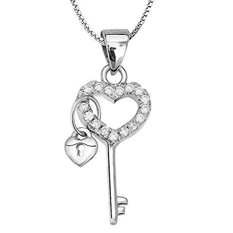 Chaomingzhen 925 Sterling Silber Weißes Vergoldet Anhänger Schlüssel zu meinem Herz Halskette Damen