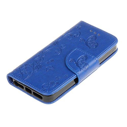 Custodia per iPhone 5, iPhone 5S, iPhone SE Custodia, con protezione per lo schermo in vetro temperato] antigraffio, fatcatparadise (TM) Custodia posteriore in silicone morbido, elegante vintage fiori Blue