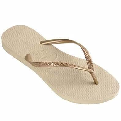 BRAND NEW HAVAIANAS WOMEN'S Slim Flip Flops Sandals SAND GREY/LIGHT GOLDEN (SAND GREY/LIGHT GOLDEN, UK 6-7, EU 41-42)