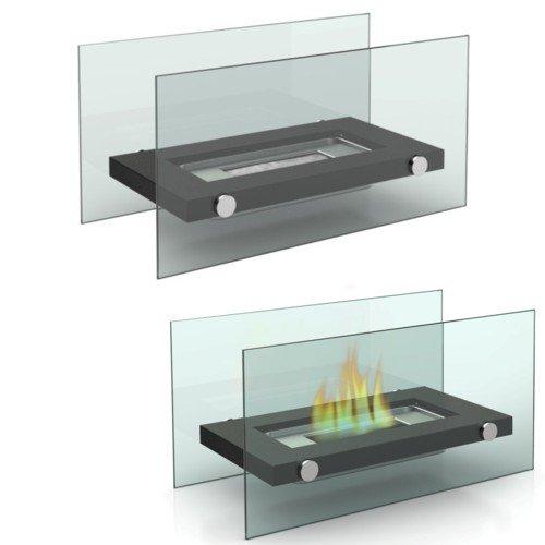 Tischkamin Kamin Glas und Stahl Feuerstelle Ethanol Bio Ethanol