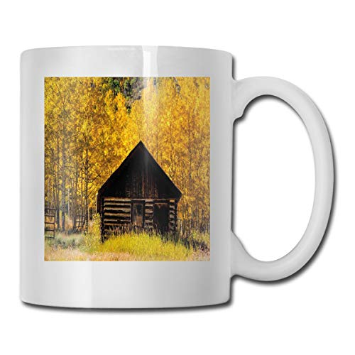 Aspen Labs (Jolly2T Funny Ceramic Novelty Coffee Mug 11oz,Abandoned Wooden Farmhouse In Fall with Aspen Trees Rural Pastoral Nature Scene,Unisex Who Tea Mugs Coffee Cups,Suitable for Office and Home)