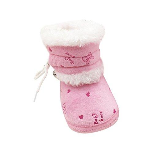 Longra Babyschuhe Baby Stiefel Schuhe Weiche Sohle Stiefel Prewalker Warme Lauflernschuhe Krippeschuhe (0-18 Monate Baby) (11CM(0~6 Monate), Pink) (Täglichen Baby Bootie)