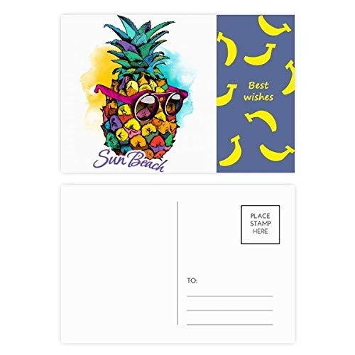 Sonnenbrille Ananas Tropischer Stil Obst Banana Postkarten-Set Dankeskarte Versandseite 20 Stück