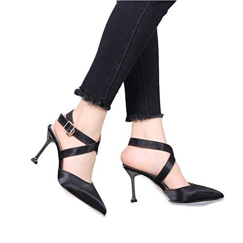 Banquet Black High Heels Astuce d'été avec des chaussures minces