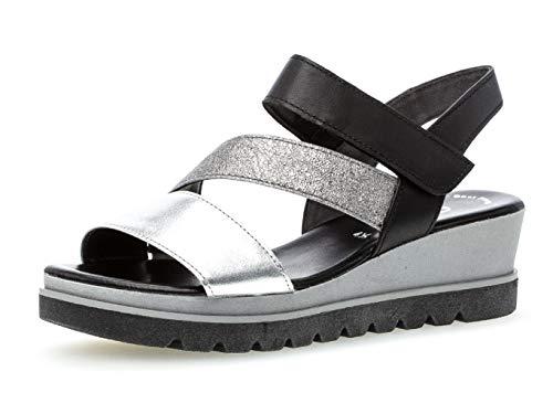 Gabor 23.641 Damen Sandalen,Keilsandalen, Frauen,Keilabsatz-Sandaletten,Keilsandaletten,Sommerschuh,flach,Best Fitting,Silber/Stone/schw,7.5 UK
