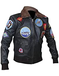 F&H Men's Top Gun Genuine Leather Bomber Jacket
