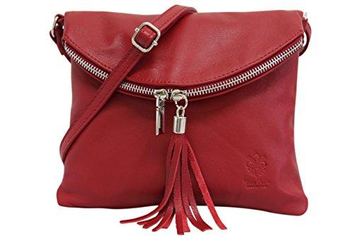 Rot Leder Mode (AMBRA Moda Italienische Ledertasche Schultertasche Crossover Umhängetasche Nappaleder Damen Kleine Tasche NL610 (Rot))